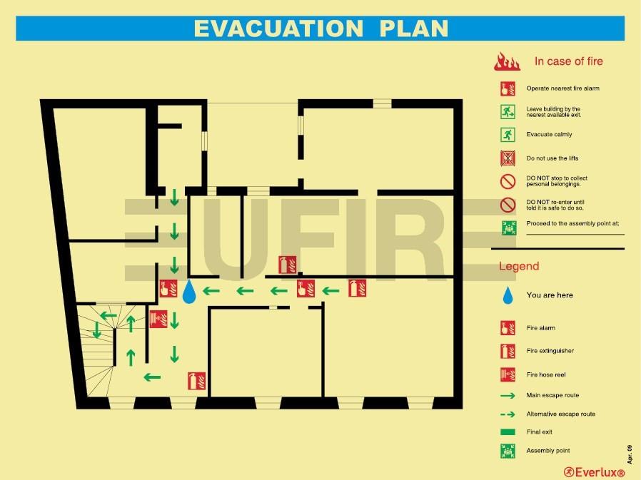 evacuation plan for hotelsschoolshospitals etc 400mm x